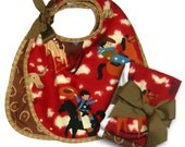Quality Infant Velcro Western (Cowboy) Print Bibs with Coordinating Burp Cloths  / 2  Bibs/2 Burp Cloths Set