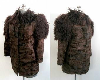 Brown Mongolian Fur Jacket Short Car Coat / Mid Century High Fashion Boho Chic