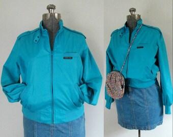 Members Only Bomber Jacket WindbreakerTurquoise Blue Size Large Unisex Vintage 1970s