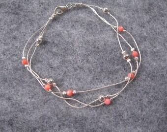 Coral and Silver Bead Bracelet, Dainty Bracelet, Three Strand Coral Bead Bracelet, Sterling Silver Bracelet