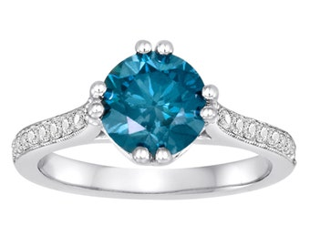 1.83 Carat Fancy Blue Diamond Engagement Ring 14K White Gold Certified Unique Handmade Pave