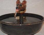 "Cat Fountain -  Ceramic Pet Fountain - Outdoor/Indoor Fountain - 12.5 Inch Diameter -  ""Mouse"""