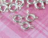 Spring Ring Closures 10 units 5 mm - Spring Ring Clasp - 925 Sterling Silver - Bulk Closures FI002