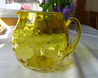 Midcentury Yellow Glass Pitcher Coin Spots and Indents Beautiful