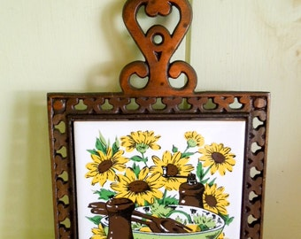 Vintage Metal Trivet - Yellow and Green Floral - Five Dollar Sale