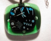 REDUCED!! Fused glass necklace with Dichroic or Decal glass.