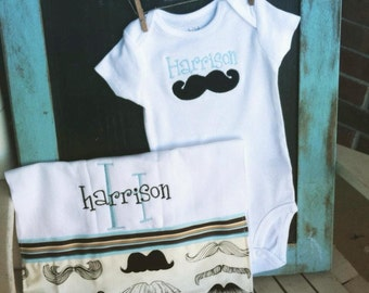 Custom Monogrammed Mustache Onesie and Burp Rag Cloth for infants babies