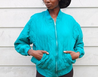 Turquoise silk quilted bomber jacket 1990s 90s