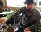 Industrial Leather Apron Utility Pocket, Men's Apron, Shop Apron, Artist Smock, Gift For Men, Blacksmith Apron