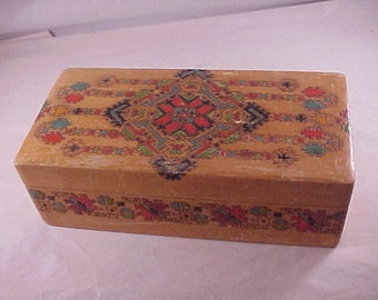 Hand Carved Wood Hinged Lid Box made in Bulgaria