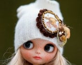 Slouchy Glamour Sparkle Silver Embroidery Beads Angora Hat Blythe Hat OOAK Blythe Hat Fantasy Hat Blythe Blythe Outfit Hat Blythe