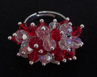 Red Crystal Cocktail Ring Clear AB Crystals Cha-Cha Dangle Ring Cluster Swarovski Siam Red Adjustable