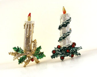 Vintage Christmas Candle Brooches Enamel & Rhinestone White Gold Candle with Holly Garland Gerry's Lot of 2