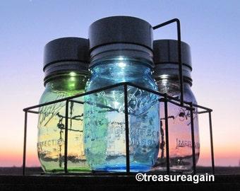 Patio Mason Jar Solar Light Caddy Outdoor Patio Lighting Choice of Color Solar Jars