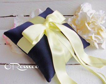 Gabriella Ring Bearer Pillow - Pick Your Own Color - Shown in Navy and Light Yellow
