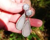 White Topaz and White Druzy Long Teardrop Earrings in Sterling Silver