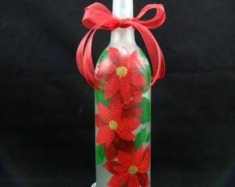 Lighted Wine Bottle Red Poinsettias Hand Painted Bottle Light