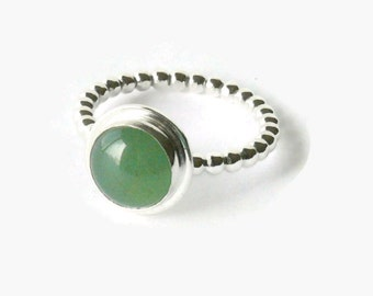 Silver gemstone ring aventurine ring sterling silver ring mint green silver stacking ring beaded stackable ring