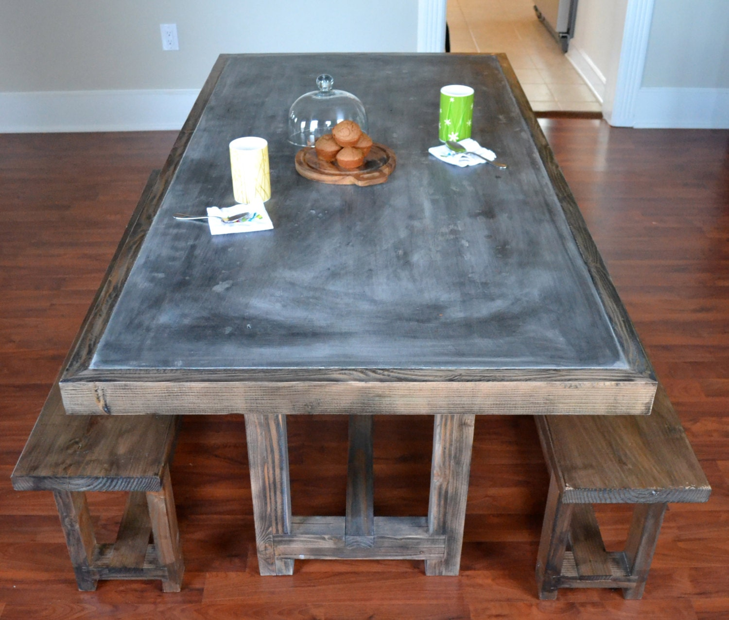 concrete and reclaimed wood dining table ready to ship concr