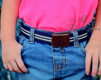 Blue Child Belt, Navy Blue & Grey Striped Military Slider Belt, Toddler Boy, Girl, School Belt
