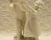 Porcelain Bisque Figure Vintage Russia Boy And Girl Hat Work 60's