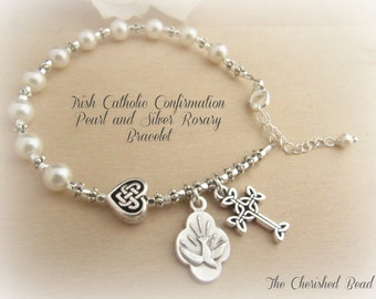 Irish Catholic Confirmation Swarovski Pearl and Silver Rosary Bracelet with Celtic Cross