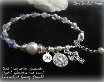 Irish Communion Swarovski Crystal, Rhinestones and Pearl Pearsonalized Rosary Bracelet