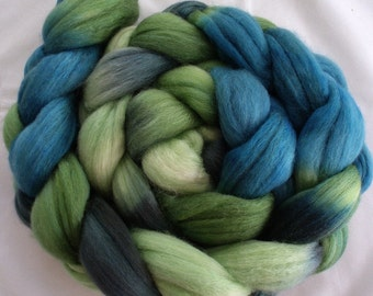 "Hand Dyed Merino/Silk Top 4 Oz.""Nessie"""""