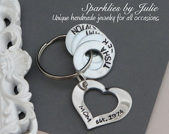 Family Key Ring - Mom, Dad, Nana, or Poppa, Year Est. Hand Stamped Key Chain, Steel Heart Washer, Personalized Name Washers, Custom Gift