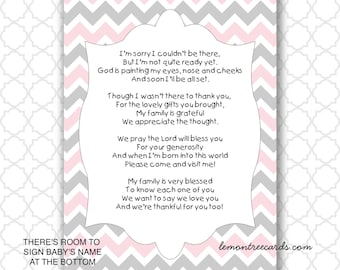 Nice Pink Gray Baby Shower Thank You Notes, INSTANT Download, Baby Gift Thank  You Notes