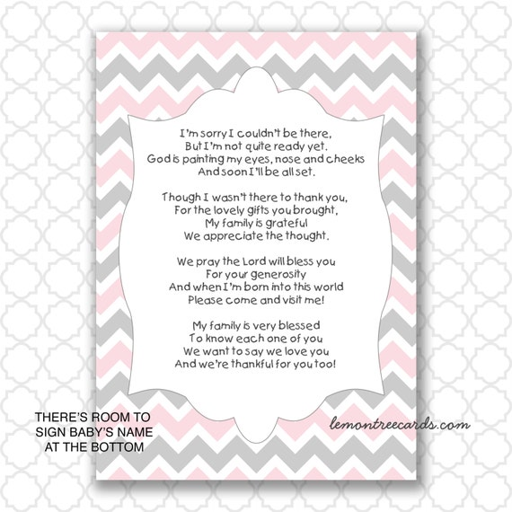 pink gray baby shower thank you notes instant download baby, Baby shower invitation