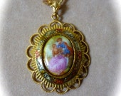 Pre Holiday sale SALE - Cameo Pendant Necklace on Handmade Chain