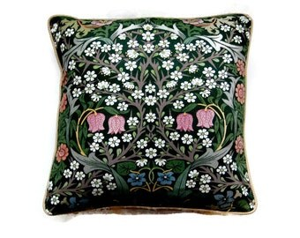 Sanderson William Morris Blackthorn Arts and Crafts green, pink, mid 60s vintage cotton cushion cover, throw pillow cover, home decor.