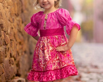 Fall Dress,Girl Dress,Girl Clothing,Toddler Dress,Little Girl Dress,Twirl Dress,Pink,Berry,Twirl Dress, Sizes 12MO,2T,3T,4T,5T,6,7,8
