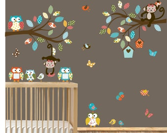 VACATION SALE-All orders ship Aug 15th!!Vinyl Wall Sticker Decal - Owls - Birds - Butterflies Branch Set