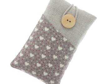 Handmade padded sleeve for iPhone iPod Samsung Galaxy Asus HTC Sony Nokia Xiaomi LG Motorola Huawei One Plus Hearts pattern