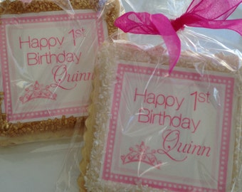 princess party custom cookie favors first birthday