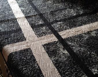 Black Gray BATIK LAP QUILT, Indonesian Cross Design 48x69 inches