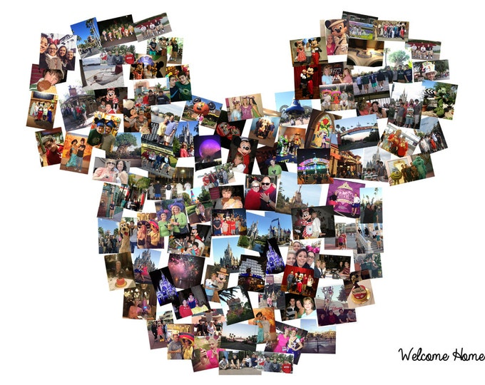 Disney Collage Custom Mickey Mouse Ears Custom Canvas Mosaic Collage Picture Gift Wedding or Anniversary Wall Art 20x24