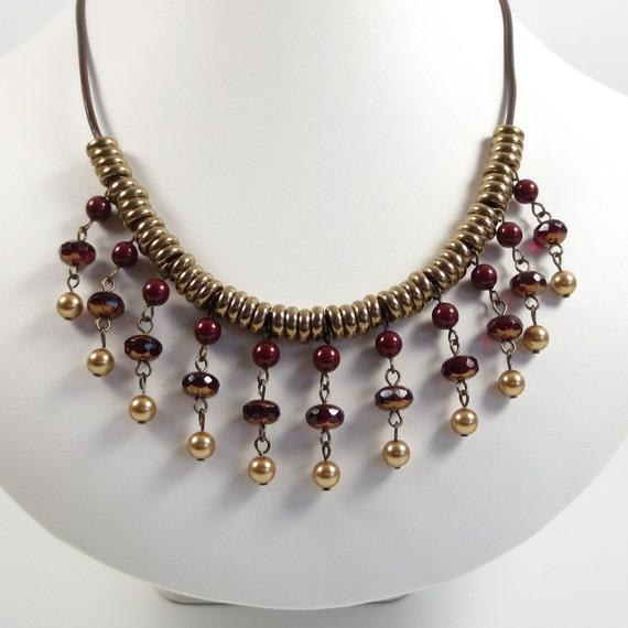 burgundy and bronze statement necklace by katestriepenjewelry