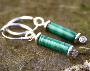 scrolls silver and malachite earrings