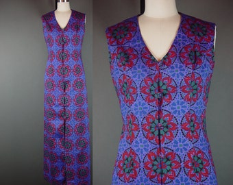 70s Dress Vintage 1970s Purple Hippie Long Pinwheel Block Print Cotton High Slit Rolled Buttons M