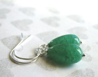 SALE Genuine Emerald Drop Earrings / Accessories / Sterling Silver and 14k Gold Filled Dangle Earrings / Emerald Dangle Earrings
