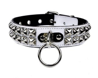 """O Ring 2 Row Pyramid Stud White Patent Leather Choker Necklace Collar 1-1/8"""" Wide - DSCK253PWHT"""