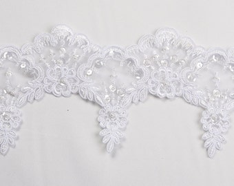 Bridal beaded lace with beads and sequins in white for bridal, couture and more 10 yards WHOLESALE