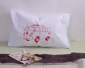 Screen Printed Pillow Cases - Set of 2 Standard Sized Pillow Covers - Eco Friendly Bedding - Volkswagen Bus - Handmade - Cotton Bedding - VW