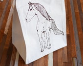 Reusable Lunch Bag - Screen Printed Recycled Cotton Lunch Bag - Eco Friendly Lunch Box - Horse - Canvas Tote Bag - Lunch Sack - Handmade