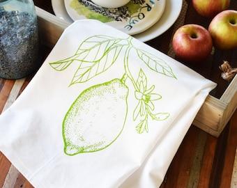 Tea Towel - Screen Printed Flour Sack Towel - Citrus - Lemon - Lime - Handmade Kitchen Towel - Eco Friendly Cotton - Dish Towel - Farmhouse
