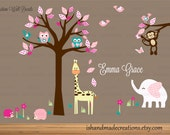 Nursery Tree Decal - Animal Wall Decal - Tree Wall Sticker - Safari Animal Decal Fabric Wall decal