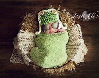Green Newborn AVIATOR Pilot Bomber Hat